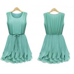 Fashion Mint Green Flounced Chiffon Vest Dress