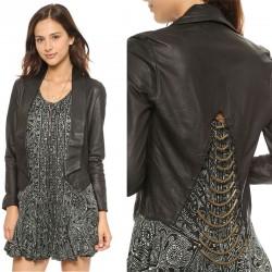 Split Swallow-tailed Retro Copper Chain Slim Leather Coat