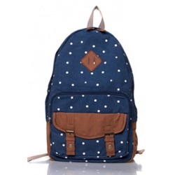 Fresh Polka Dot Embellishment Canvas Backpack
