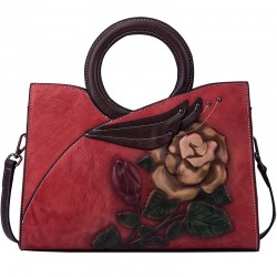 Retro Circle Handle Original Large Flower Handmade Embossing Leaves Handbag Rose Shoulder Bag