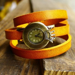 vintage three laps wrap crown dial leather watch
