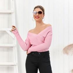 New Irregular V-neck Long Sleeve Strapless Shoulder Cardigan Women Sweater