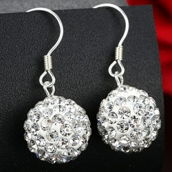Fashion White Shining Diamond Ball Silver Women Drop Earrings