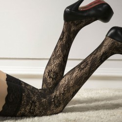 Sexy Hollow Flowers Lace Side High Jacquard Black Stockings Socks Lingerie
