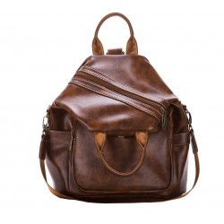 Retro Diagonal Zipper Brown Multi-function Handbag Shoulder Bag Backpack