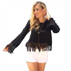 Fashion Solid Casual O-neck Chiffon Hollow Tassel Hem Long Sleeve Top