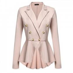 Elegant Double Row Metal Buckle Long Sleeve Small Blazer Women's Coat