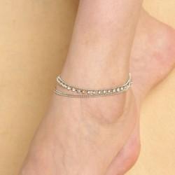 Fashion Sexy 3 Layer Stretch Rhinestone Anklet Barefoot Bracelet