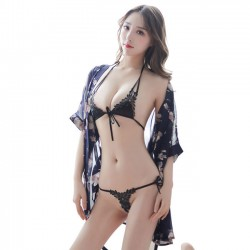 Sexy Perspective Lace Floral Hollow Leaves Women Lingerie