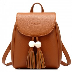 Leisure School Backpack Fashion PU Women Travel Tassels Bead Rucksack