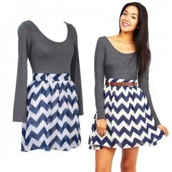 Fashion Geometry Stripe O-neck Spliced Chiffon Long Sleeve Dress