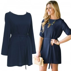 Brief Rolled Sleeve Casual O-neck Solid Beam Waist Bow Dress