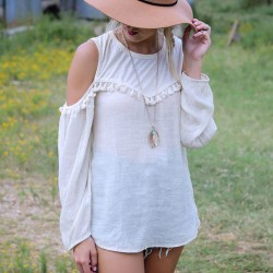 Stylish Casual O-neck Long Sleeve Tassel Off Shoulder Loose Chiffon Top