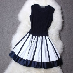 Springy Knitted Black and White Stripe Dress
