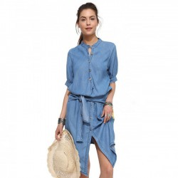 Fashion Stand Collar Casual Irregular Slim Fold Denim Dress