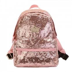 Pink Shine Crown Girl School Rucksack Sequin Student Backpack