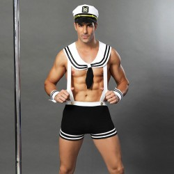 Sexy Sailor Suit Bar Night Club Cosplay Navy Uniform Temptation Man Conjoined Lingerie
