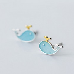 Lovely Blue Fish Little Whale Animal Women's Silver Earring Studs