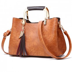 Elegant Girl's PU Leather Handbag Casual Tote Shoulder Bag
