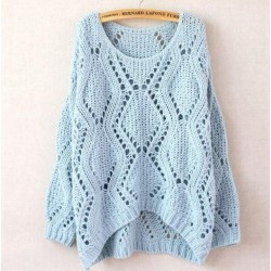 Leisure Loose Round Neck Argyle Hollow Sweaters
