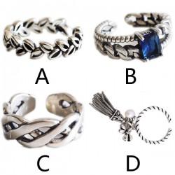 Retro Simple Tassel Weave Leaf Knuckle Midi Women Silver Open Ring