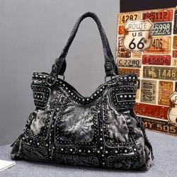 Punk Rivet Blue Denim Large Women Retro Handbag Shoulder Bag