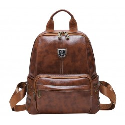 Retro British Style School Bag Brown Rivet College Backpack