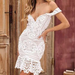Sexy Hollow V Shape Wrapped Bust Lace Summer Dress