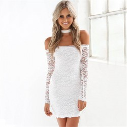 Sweet Hollow Long Sleeve Hollow Lace Strapless Low Cut Dress With Bib