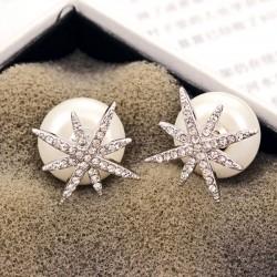 Fashion 925 Silver Zircon Star Pearl Ball Women Earrings Studs