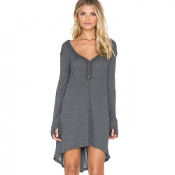 Fashion Casual Irregular Long Sleeve V Neck Loose T-shirt Dress