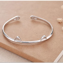 Cute Cat Ear Silver Open Bracelet Lover Present Jewelry Kitten Foot Women Bracelet