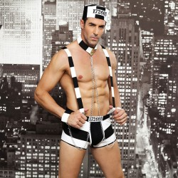Sexy Bar Performance Erotic Underwear Male Prisoner Costume Stripe Uniform Nightclub Man Conjoined Lingerie