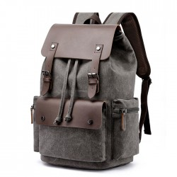 Leisure Double Buckle Leather Thick Canvas Large Travel Bag School Backpacks