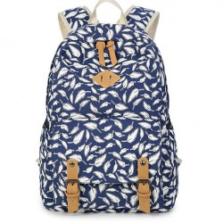 Leisure Polka Dot Backpack Fashion College Feather Canvas Women Rucksack