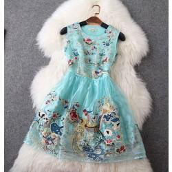 Classic Elegant Embroidered Women's Slim Dress