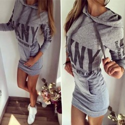 Fashion Bodycon Hoodie Pullover Pockets Shirt Dress
