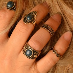 Retro Turquoise Place Folk Style Knuckle Midi 5 Set Rings