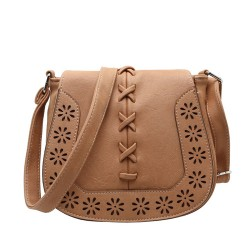 Vintage Saddle Mori Style Hollow Flower Weave Shoulder Bag