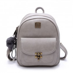 Unique Lock Button Retro Pure Color Student Bag PU Women Backpack