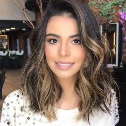 Unique Curls Big Wave Gradient Brown Partial Shoulder Hair Wig