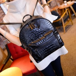 Nice Solid Color Simple Crocodile Printed Backpack