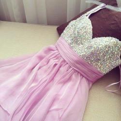 Sweetheart Halter strapless Beadings Chiffon Dress