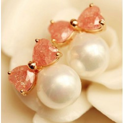 Gift Sweet Bow Zircon Pearl Ear Studs