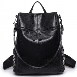 Punk Square Large Multifunction School Backpack Girl's Black PU Rivets Shoulder Bag Travel Backpack