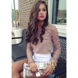 Fashion Hollow Crochet  Long Sleeve Lace Chiffon Blouse Tops