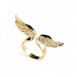 Fashion Sparkling Angel Wing Ring