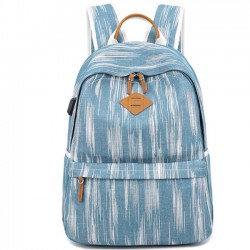 Unique USB Interface Vertical Stripes Large School Canvas Backpack
