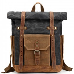 Vintage Outdoor Camping Travel Backpack Leather Thick Canvas Backpack