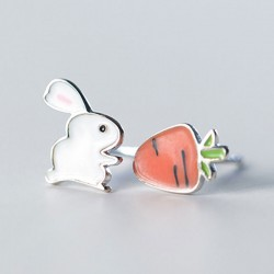 Cute Rabbit Asymmetric Carrot Earrings Funny Silver Jewelry Earrings Studs